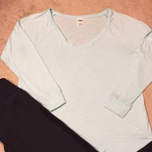 PINK slub knit mint green v-neck tee